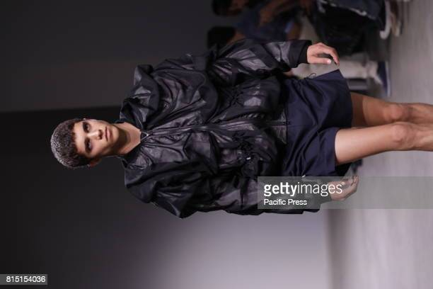 A model walks the runway for Feng Chen Wang Spring/Summer 2018 Runway Show at Skylight Clarckson Square NYC