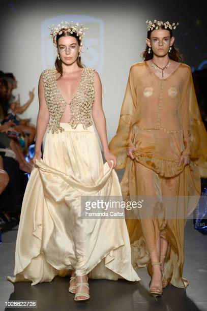 A model walks the runway for Flying Solo NYFW September 2018 during New York FashioN Week at Pier 59 on September 7 2018 in New York City