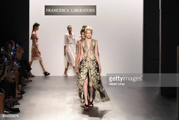 A model walks the runway for Francesca Liberatore fashion show during New York Fashion Week The Shows at Gallery 1 Skylight Clarkson Sq on September...