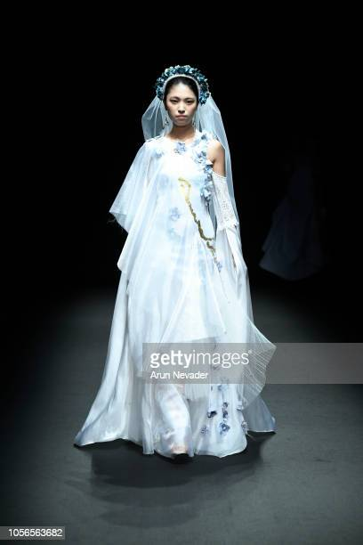 Model walks the runway for Global Fashion Collective Alicia Perrillo collection at Shibuya Hikarie Hall on October 18, 2018 in Tokyo, Japan.