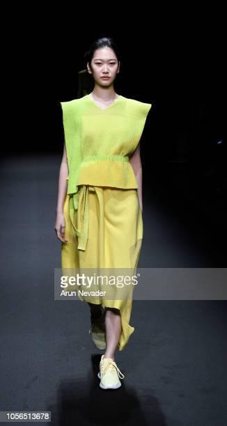 Model walks the runway for Global Fashion Collective Annika Klaas at Shibuya Hikarie Hall on October 18, 2018 in Tokyo, Japan.