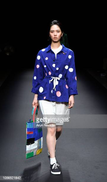 Model walks the runway for Global Fashion Collective Atelier M/A collection at Shibuya Hikarie Hall on October 18, 2018 in Tokyo, Japan.