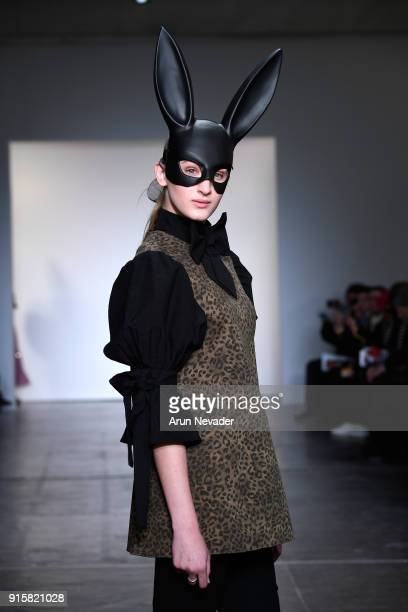 Model walks the runway for Global Fashion Collective Presents Fiction Tokyo At New York Fashion Week Fall 2018 at Industria Studios on February 8,...