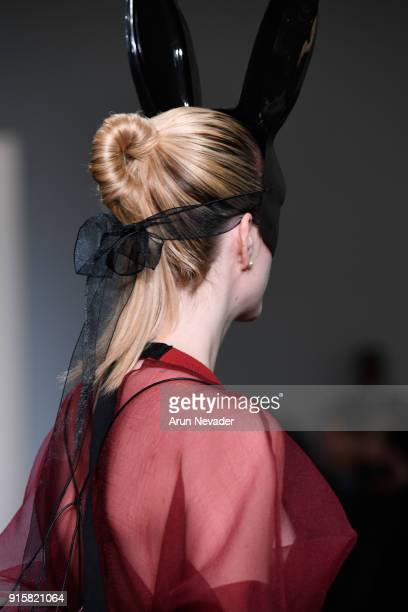 A model walks the runway for Global Fashion Collective Presents Fiction Tokyo At New York Fashion Week Fall 2018 at Industria Studios on February 8...