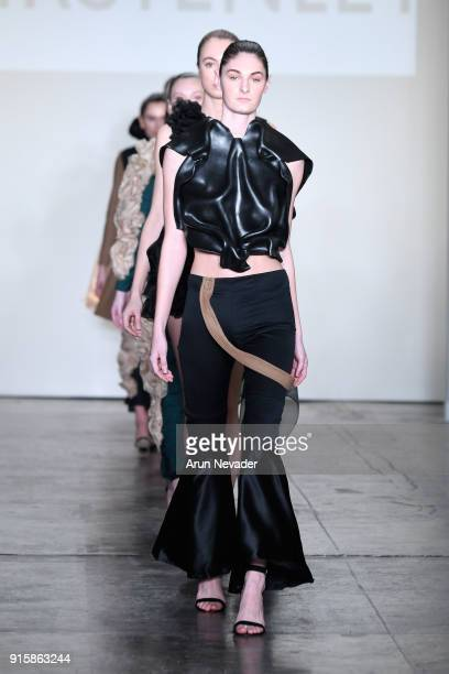 A model walks the runway for Global Fashion Collective Presents KIRSTEN LEY At New York Fashion Week Fall 2018 at Industria Studios on February 8...