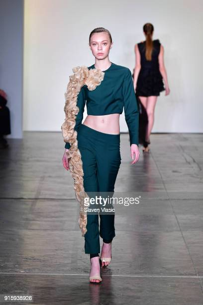 A model walks the runway for Global Fashion Collective Presents KIRSTEN LEY during New York Fashion Week First Stage at Industria Studios on February...