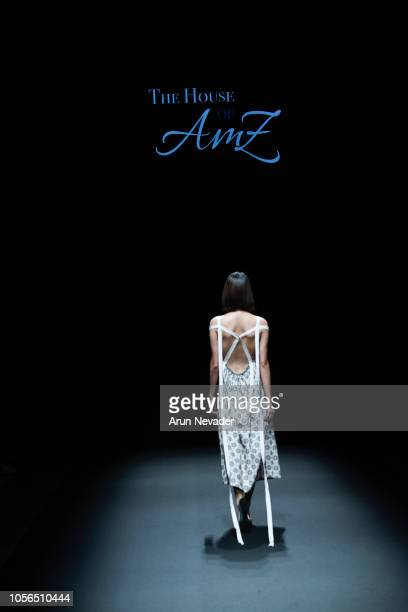 Model walks the runway for Global Fashion Collective The House of AmZ collection at Shibuya Hikarie Hall on October 18, 2018 in Tokyo, Japan.