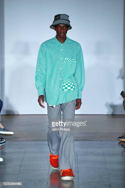 A model walks the runway for HAiKW/ at the Bik Bok Runway Award during Oslo Runway SS19 at Bankplassen 4 on August 16 2018 in Oslo Norway