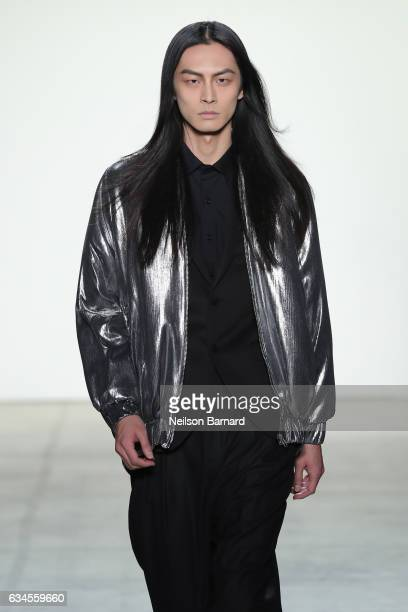 A model walks the runway for Hakan Akkaya collection during New York Fashion Week at Gallery 2 Skylight Clarkson Sq on February 10 2017 in New York...