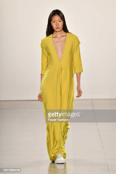 Model walks the runway for Hogan McLaughlin during New York Fashion Week: The Shows at Gallery II at Spring Studios on September 11, 2018 in New York...