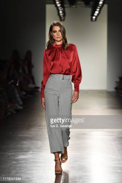 Model walks the runway for House of Campbell for Fashion Palette Australian Womenswear runway during New York Fashion Week at Pier 59 on September...