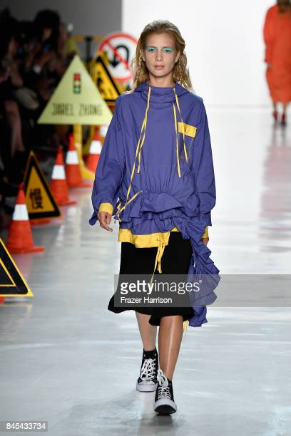 A model walks the runway for Jarel Zhang fashion show during New York Fashion Week The Shows at Gallery 3 Skylight Clarkson Sq on September 10 2017...