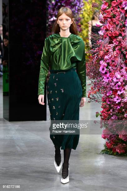 A model walks the runway for Jason Wu during New York Fashion Week The Shows at Gallery I at Spring Studios on February 9 2018 in New York City