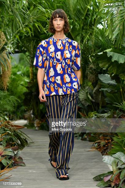 Model walks the runway for Jason Wu - September 2020 during New York Fashion Week: The Shows at Spring Studios Terrace on September 13, 2020 in New...