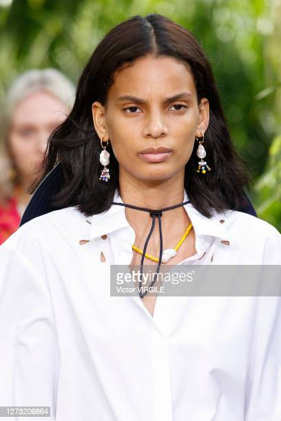 Model walks the runway for Jason Wu Sping/Summer 2021 fashion show at Spring Studios Terrace during New York fashion week on September 13, 2020 in...