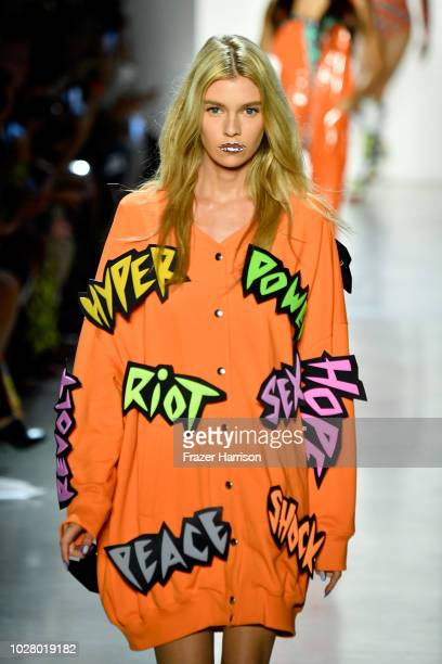 A model walks the runway for Jeremy Scott during New York Fashion Week The Shows at Gallery I at Spring Studios on September 6 2018 in New York City