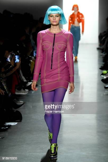 A model walks the runway for Jeremy Scott during New York Fashion Week The Shows at Gallery I at Spring Studios on February 8 2018 in New York City