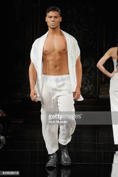 Model JanLuis Castellanos walks the runway for Jonathan Marc Stein Fashion Show at Art Hearts Fashion SS/18 at The Angel Orensanz Foundation on...