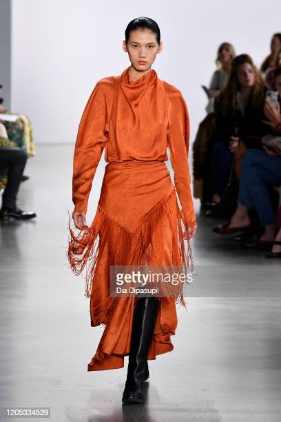 Model walks the runway for Jonathan Simkhai during New York Fashion Week: The Shows at Gallery I at Spring Studios on February 10, 2020 in New York...