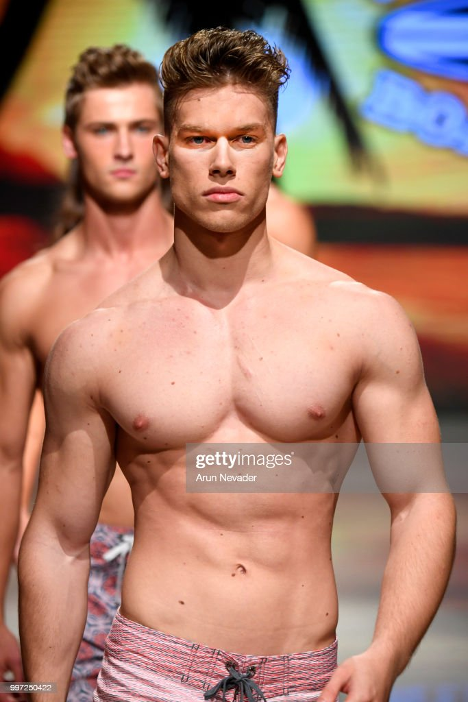 A model walks the runway for Just Bones Boardwear at Miami Swim Week powered by Art Hearts Fashion Swim/Resort 2018/19 at Faena Forum on July 12, 2018 in Miami Beach, Florida.