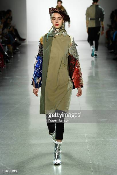 A model walks the runway for Just In XX fashion show during New York Fashion Week The Shows at Gallery II at Spring Studios on February 9 2018 in New...