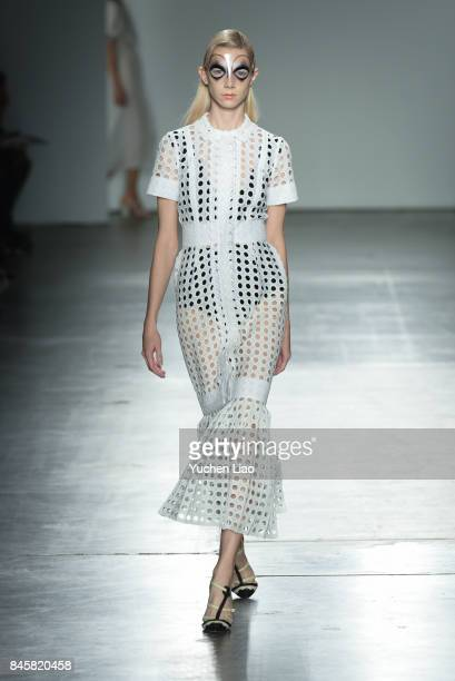 A model walks the runway for Katty Xiomara fashion show during New York Fashion Week at Pier 59 on September 11 2017 in New York City
