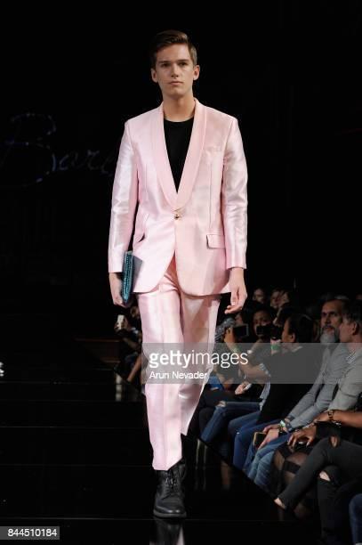 Model walks the runway for Kenneth Barlis at New York Fashion Week NYFW Art Hearts Fashion SS/18 at The Angel Orensanz Foundation on September 8,...