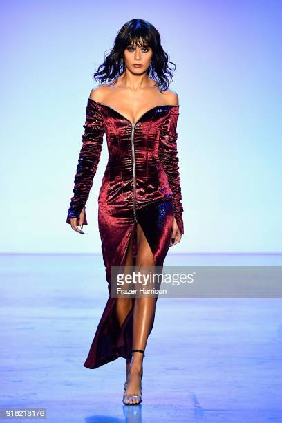 A model walks the runway for Laquan Smith during New York Fashion Week The Shows at Gallery I at Spring Studios on February 14 2018 in New York City