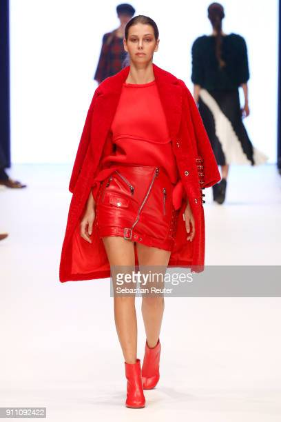 Model walks the runway for Lassal's show at the Fashionyard show during Platform Fashion January 2018 at Areal Boehler on January 27, 2018 in...