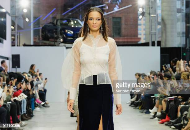 A model walks the runway for Lavanya Coodly at the Nolcha Shows during New York Fashion Week Fall/Winter 2018 at MercedesBenz Manhattan on February...