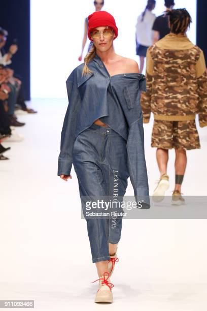 Model walks the runway for Leandro Lopes show at the Fashionyard show during Platform Fashion January 2018 at Areal Boehler on January 27 2018 in...
