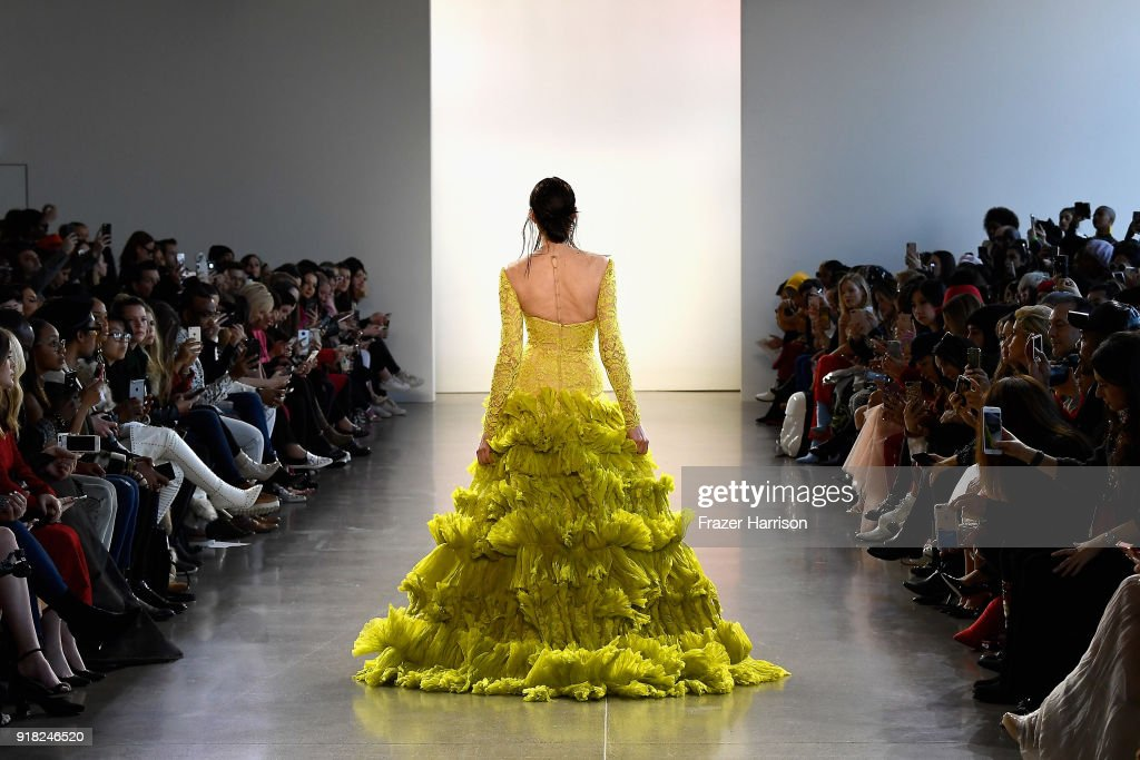 A model walks the runway for Leanne Marshall during New York Fashion Week: The Shows at Gallery II at Spring Studios on February 14, 2018 in New York City.
