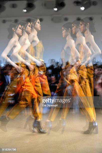 A model walks the runway for Leanne Marshall during New York Fashion Week The Shows at Gallery II at Spring Studios on February 14 2018 in New York...