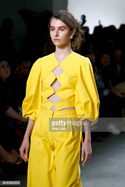A model walks the runway for Leanne Marshall fashion show during New York Fashion Week The Shows at Gallery 2 Skylight Clarkson Sq on September 10...