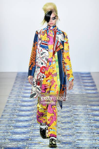 Model walks the runway for Libertine during New York Fashion Week: The Shows at Gallery II at Spring Studios on September 11, 2019 in New York City.