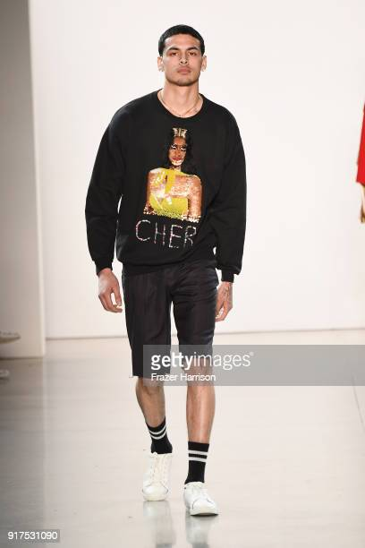 A model walks the runway for Libertine during New York Fashion Week The Shows at Gallery II at Spring Studios on February 12 2018 in New York City