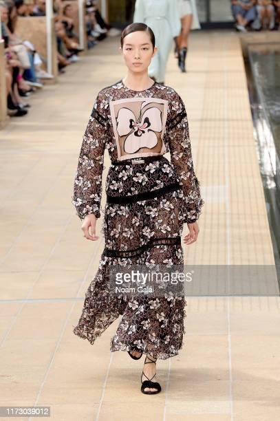 Model walks the runway for Longchamp during New York Fashion Week on September 07, 2019 in New York City.
