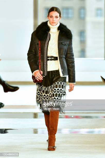 Model walks the runway for Longchamp fashion show during February 2020 - New York Fashion Week: The Shows at Hudson Commons on February 08, 2020 in...