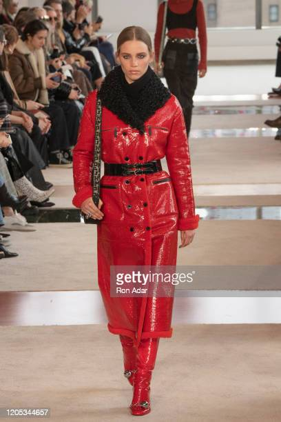 Model walks the runway for Longchamp Ready to Wear Fall/Winter 2020 fashion show during February 2020 at Hudson Commons on February 08, 2020 in New...