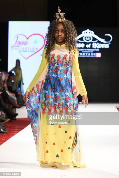 A model walks the runway for Love Collection By Emily Anna at the House of iKons show at the Millennium Gloucester Hotel on February 16 2020 in...