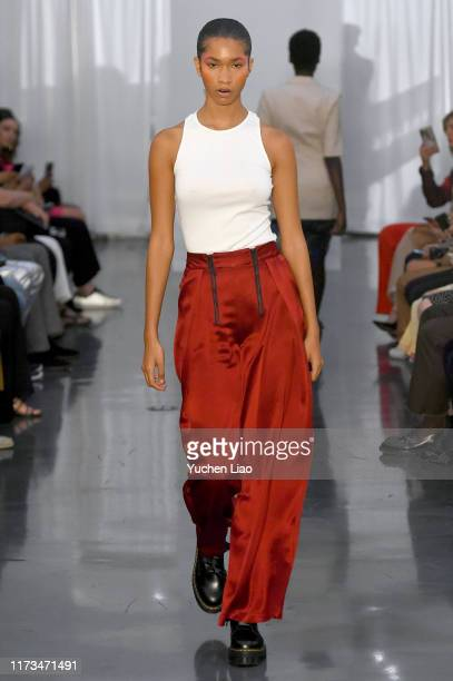 A model walks the runway for Maki Oh during New York Fashion Week The Shows on September 09 2019 in New York City