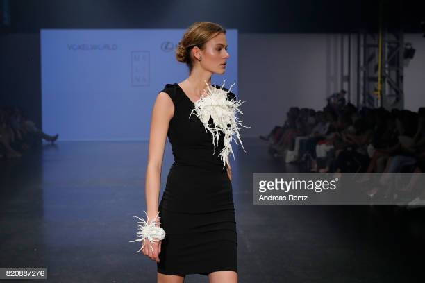 A model walks the runway for 'Malina' at the 3D Fashion Presented By Lexus/Voxelworld show during Platform Fashion July 2017 at Areal Boehler on July...