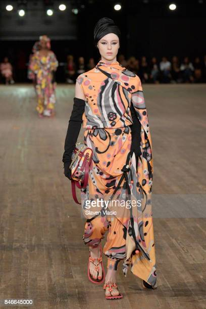 A model walks the runway for Marc Jacobs SS18 fashion show during New York Fashion Week at Park Avenue Armory on September 13 2017 in New York City