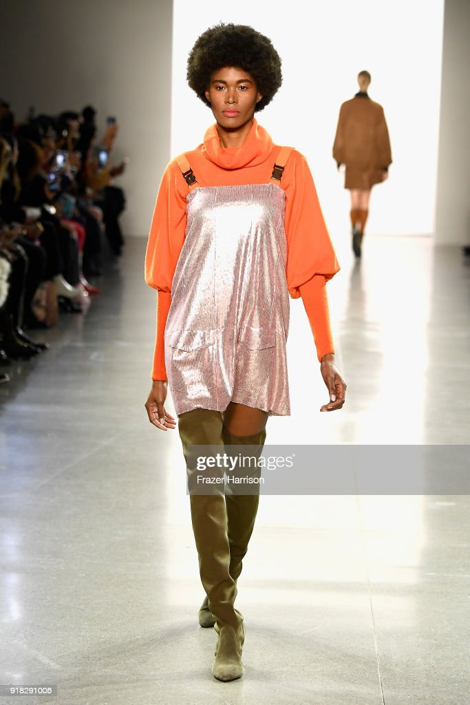 A model walks the runway for Marcel Ostertag during New York Fashion Week: The Shows at Gallery II at Spring Studios on February 14, 2018 in New York City.