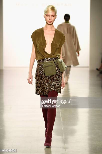 A model walks the runway for Marcel Ostertag during New York Fashion Week The Shows at Gallery II at Spring Studios on February 14 2018 in New York...