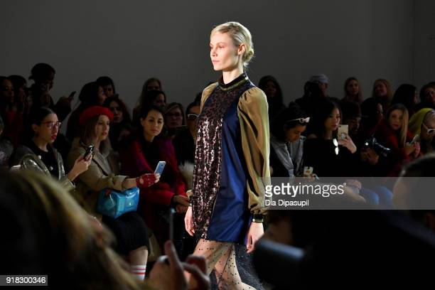 A model walks the runway for Marcel Ostertag front row during New York Fashion Week The Shows at Gallery II at Spring Studios on February 14 2018 in...