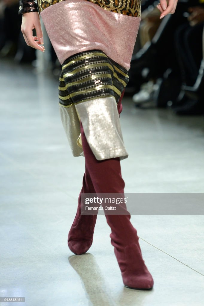 A model walks the runway for Marcel Ostertag, shoe detail, during New York Fashion Week: The Shows at Gallery II at Spring Studios on February 14, 2018 in New York City.
