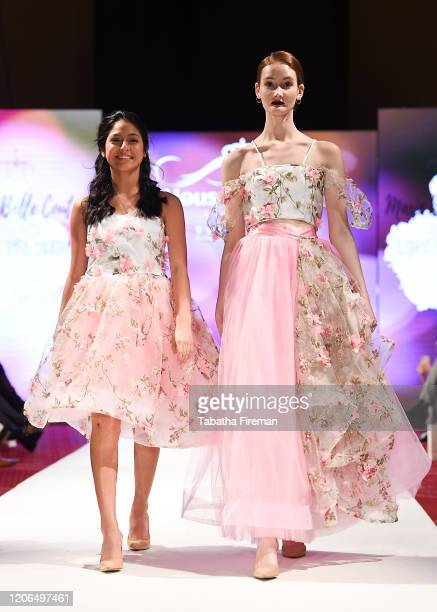 A model walks the runway for Marie Belle Couture at the House of iKons show at the Millennium Gloucester Hotel on February 15 2020 in London England