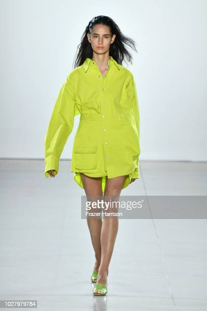 Model walks the runway for Matthew Adams Dolan during New York Fashion Week: The Shows at Gallery II at Spring Studios on September 6, 2018 in New...