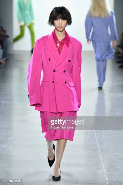 A model walks the runway for Matthew Adams Dolan during New York Fashion Week The Shows at Gallery II at Spring Studios on September 6 2018 in New...